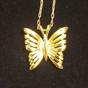 Vintage gold toned Butterfly Necklace